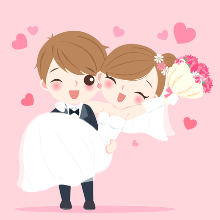 Illustration pour Cute cartoon wedding people smile happily on the pink background - image libre de droit