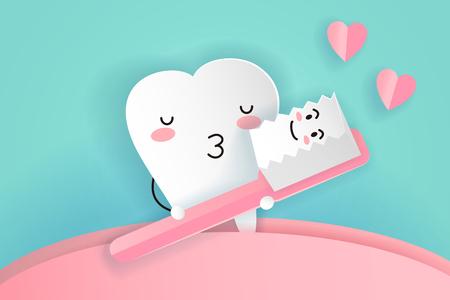 Ilustración de cute cartoon tooth and brush with love concept  - Imagen libre de derechos