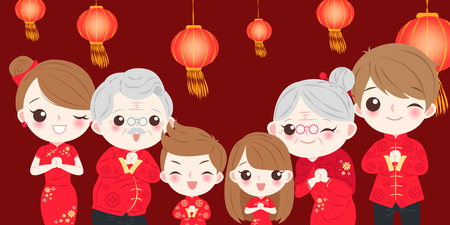 Illustration for Family with Chinese new year on the red background - Royalty Free Image