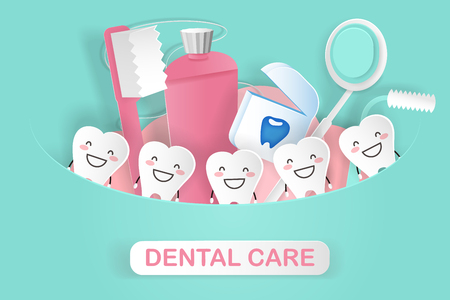 Illustration pour cute cartoon tooth with dental care concept on the green background - image libre de droit