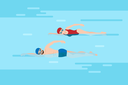 cute cartoon people swim in the pool