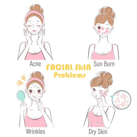 Illustration pour beauty cartoon woman with facial skin problems - image libre de droit
