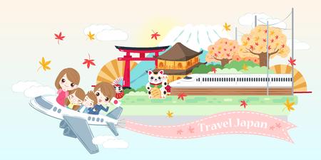 Ilustración de cute cartoon family travel happily in the japan - Imagen libre de derechos