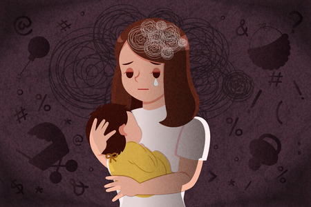 Illustration for postpartum depression concept - mother feel depressed with baby with the dark background - Royalty Free Image