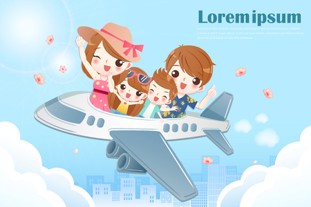 Ilustración de family take a plane and travel happily - Imagen libre de derechos