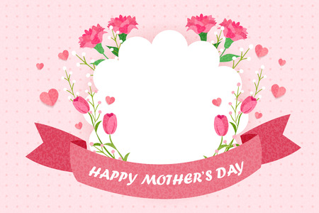 Illustration for happy mothers day greeting card with flowers - Royalty Free Image