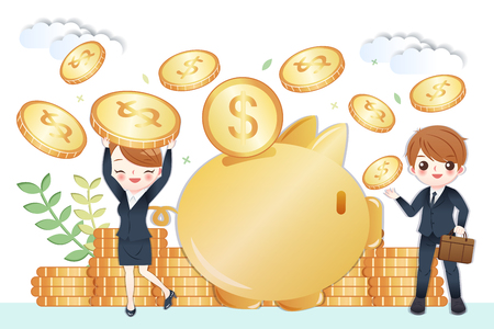 Illustration pour cute cartoon business people with huge piggy bank and saving money concept - image libre de droit
