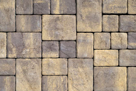 Photo for Gray Texture of cement paving slabs or cobblestone for banner. Mock up or template for modern design. - Royalty Free Image