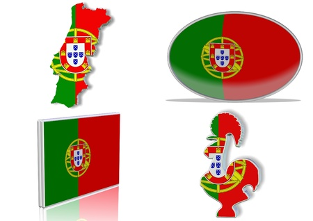 Portuguese flag in 4 different designs, in shape of the country, oval shape, flat on an angle, in a shape of a national symbol.