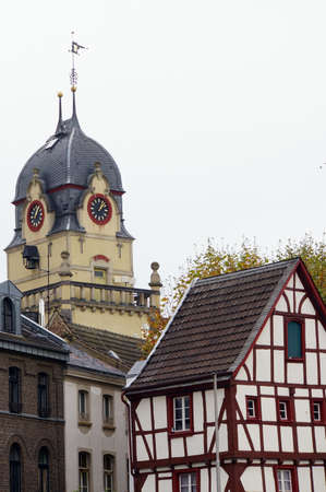 Half-timbered house on the Alter Markt, in the background the old town hall, Euskirchen, North Rhine-Westphalia, Germany
