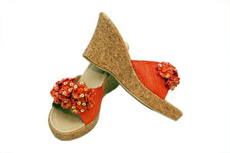 orange-colored summer shoes