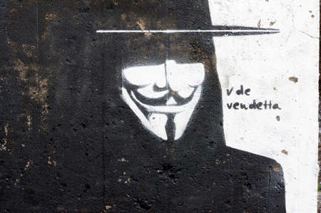 Grafitti V for Vendetta, San Andres, Tenerife, Spain