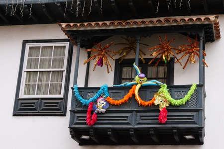 fr Carnival geschmckter balcony in the old town, Puerto de la Cruz, Tenerife, Canary Islands, Spain