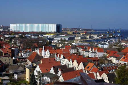 View from the observation deck of Sankt Georgen in Wismar Mecklenburg Vorpommern Germany