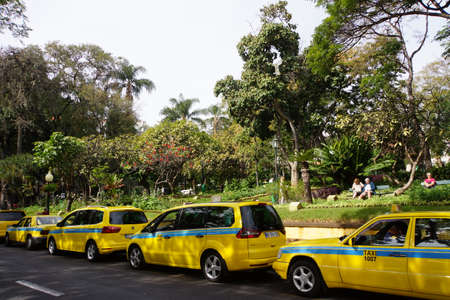 Taxis in front of the city park, Funchal, Madeira, Portugal