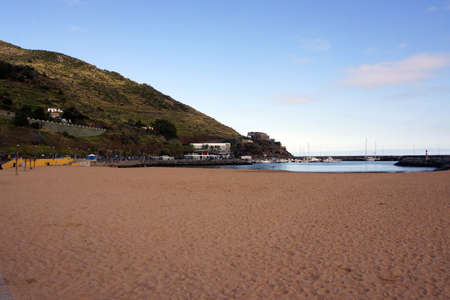 Madeira's only sandy beach, Machico, Madeira, Portugal
