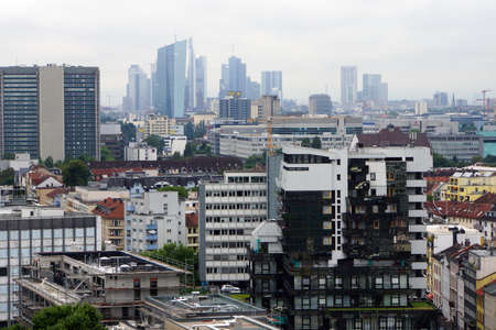 View over Offenbach the skyline of Franfurt, Hessen, Germany