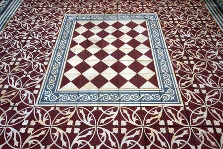 Floor covering of terracotta tiles