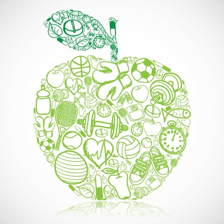Illustration for Apple made of fitness symbols  - Royalty Free Image