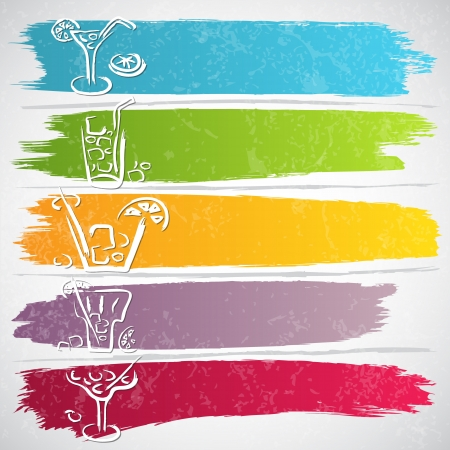 Collection of colorful strokes with drink icons - vector illustration