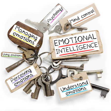 Photo of key bunch and paper tags with EMOTIONAL INTELLIGENCE conceptual words