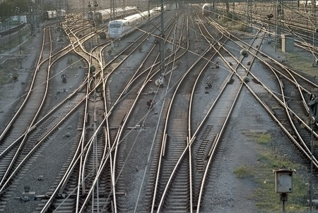 Train Tracks with Cars at the Station in Munich