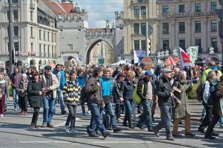 MUNICH, GERMANY - April 18, 2015:  Protesters turn out in force to protest TTIP trade deal, the Transatlantic Trade and Investment Partnership, in Munich Germany.