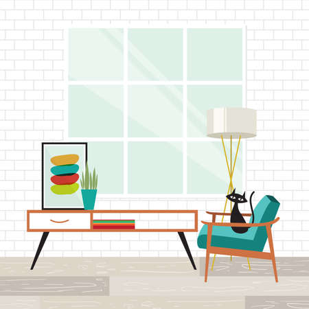 Illustration for Cozy room scene with a cat in mid-century modern style - Royalty Free Image