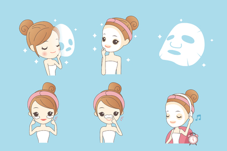Illustration for cartoon girl care her face with mask, facial, beauty - Royalty Free Image