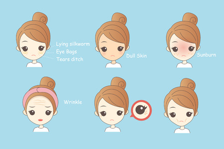 Illustration pour Face Skin Problem - cartoon woman unhappy with her eyebags and wrinkle - image libre de droit