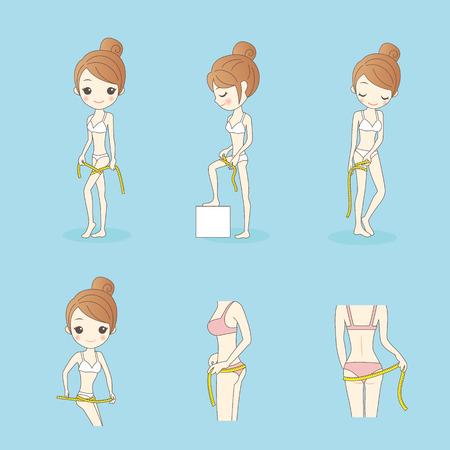 cartoon woman wear underwear and  take Slimming ruler