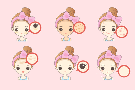 Illustration pour cartoon woman unhappy with her eyebags and wrinkle - image libre de droit