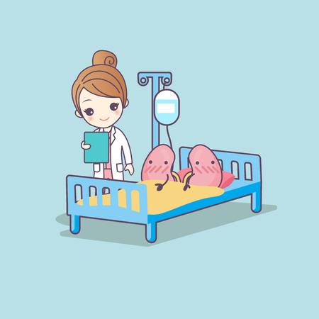 Illustration pour cute cartoon kidney and doctor, great for health care concept - image libre de droit