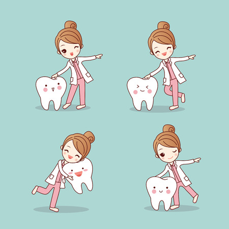 Ilustración de cute cartoon dentist doctor with tooth, great for health dental care concept - Imagen libre de derechos