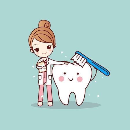Illustration pour cartoon woman dentist brush clean teeth, great for dental care concept - image libre de droit