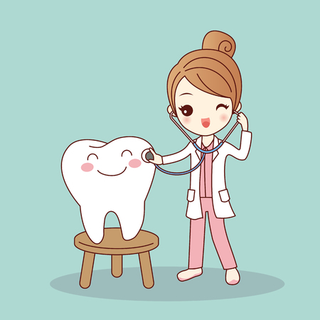 Illustration for cute cartoon dentist doctor with tooth, great for health dental care concept - Royalty Free Image