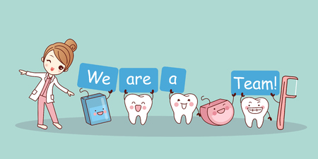 We are a team - cute cartoon tooth with floss and floss pick, great for health dental care concept