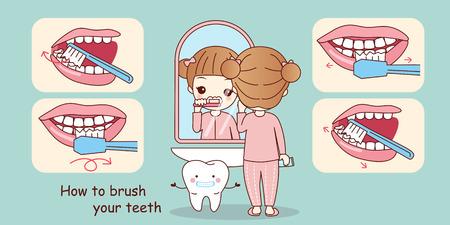 Ilustración de cartoon young girl teach how to brush your teeth - Imagen libre de derechos