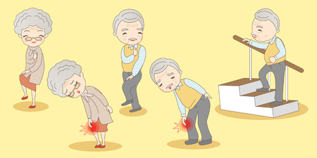 Illustration for old couple have knee problem, great for your design - Royalty Free Image