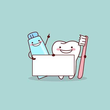 Illustration pour cute cartoon tooth,toothpaste and tooth brush with billboard, great for health dental care concept - image libre de droit