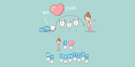 Cute cartoon dentist play with tooth and floss