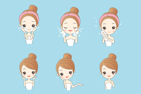 Illustration pour cartoon skin care woman with various expression and face skin problem - image libre de droit