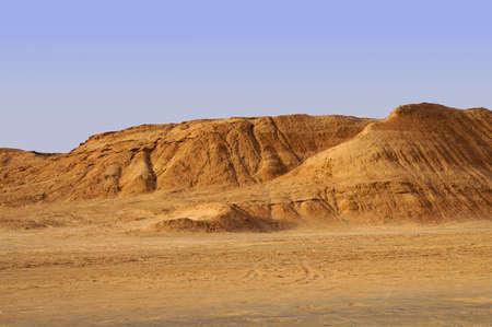 Panoramic view of sand dunes in the Sahara desert of Tunisia