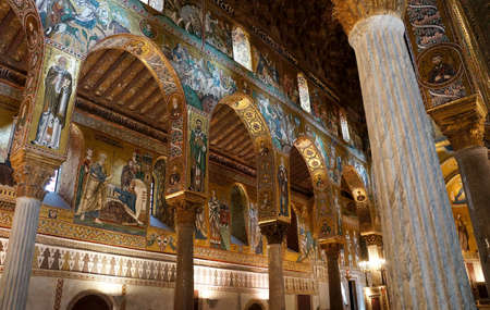 Internal view of the decorated arches in the Palatine Chapel of Palermo in Sicily