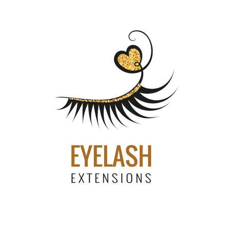 Illustration pour Eyelash extension with gold glitter logo design. Vector illustration. - image libre de droit