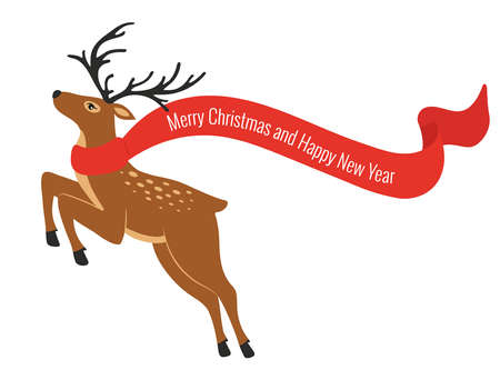 Christmas colorful deer with scarf. Deer in jumping. Merry Christmas and Happy New year.