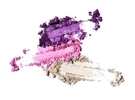 Photo for Creative beauty fashion concept photo of cosmetic products lipstick eyeshadows swatches on white background. - Royalty Free Image