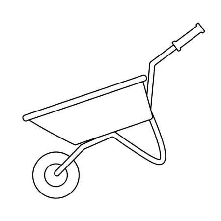 Illustration for Wheelbarrow cart icon flat. Black pictogram on white background. - Royalty Free Image
