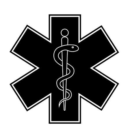 Ilustración de Medical sign star of life icon. Hospital ambulance star glyph style pictogram. Medicine logo - Imagen libre de derechos