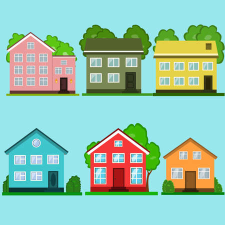 Illustration for Set of colorful houses vector illustration. - Royalty Free Image